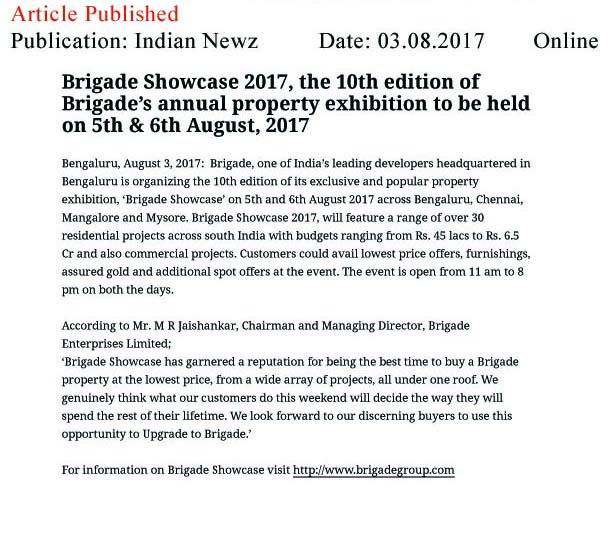 Brigade Showcase 2017, the 10th edition of Brigade's annual property exhibition—Indian Newz-Online