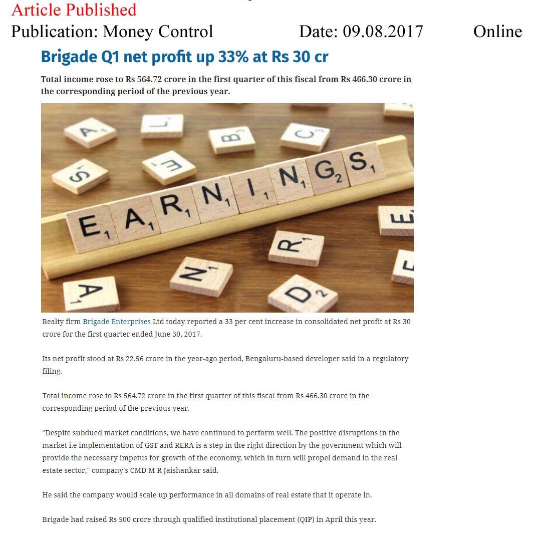 Brigade Q1 net profit up 33% at Rs 30 cr—Money Control-Online