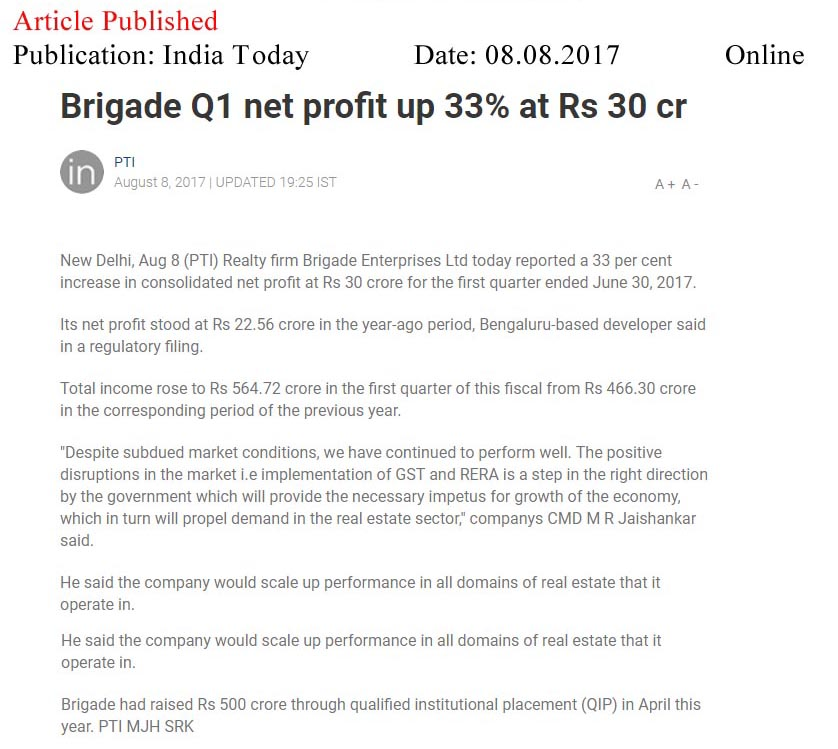 Brigade Q1 net profit up 33% at Rs 30 cr—India Today-Online