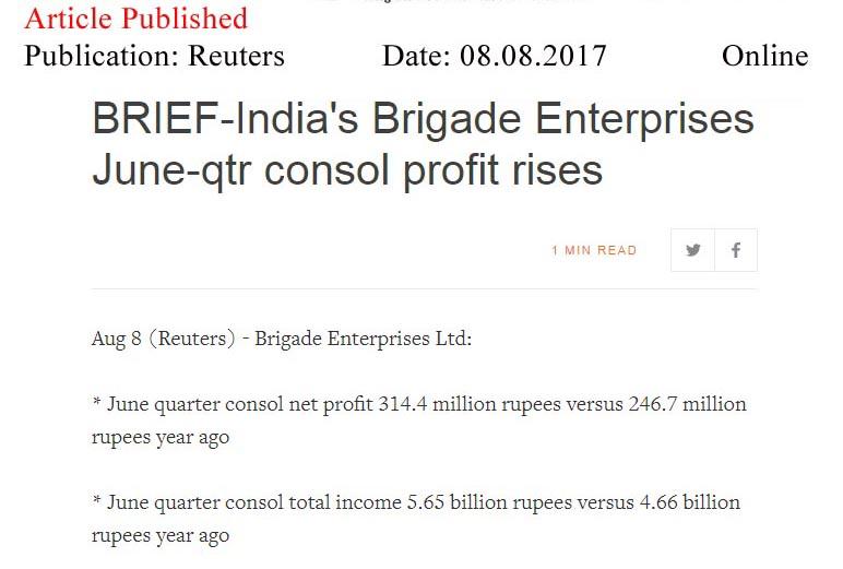 Brigade Q1 net profit up 33% at Rs 30 cr—Reuters-Online