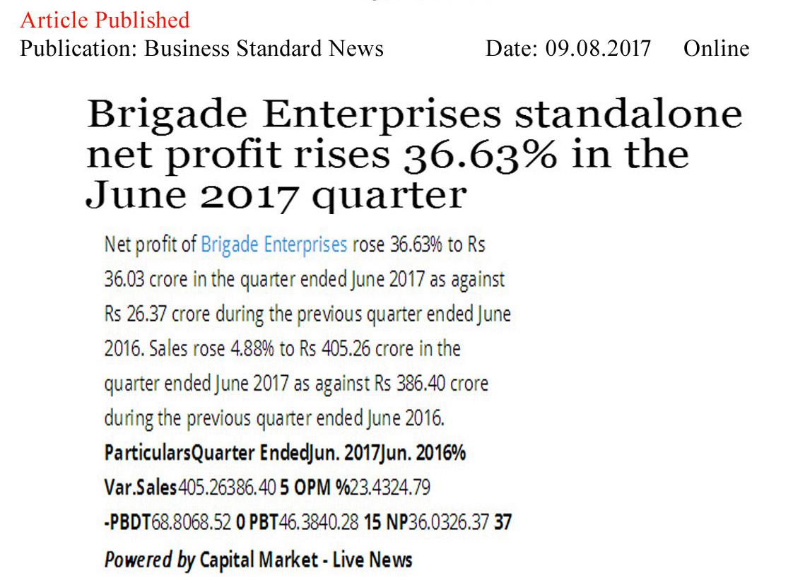 Brigade Enterprises Standalone net profit rises 36.63% in the June 2017 quarter—Business Standard-Online