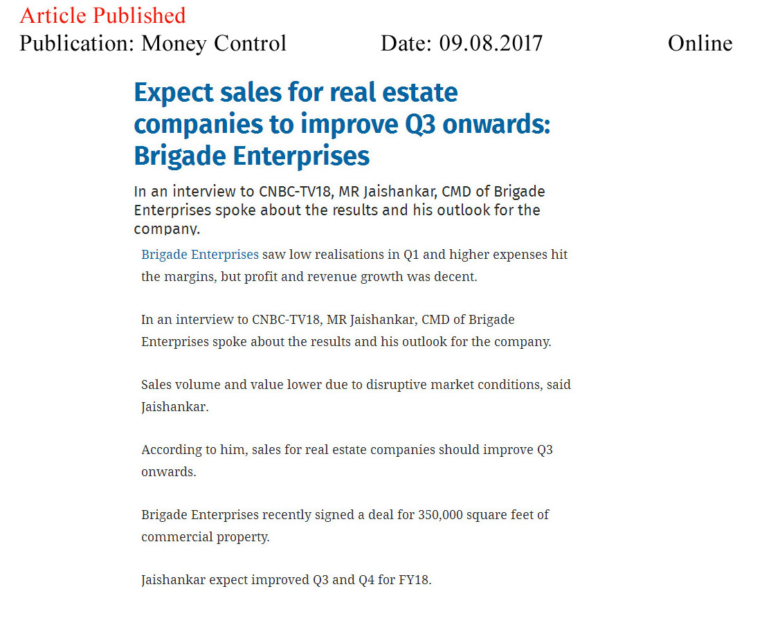 Expect sales for real estate companies to improve Q3 onwards: Brigade Enterprises—Money Control-Online