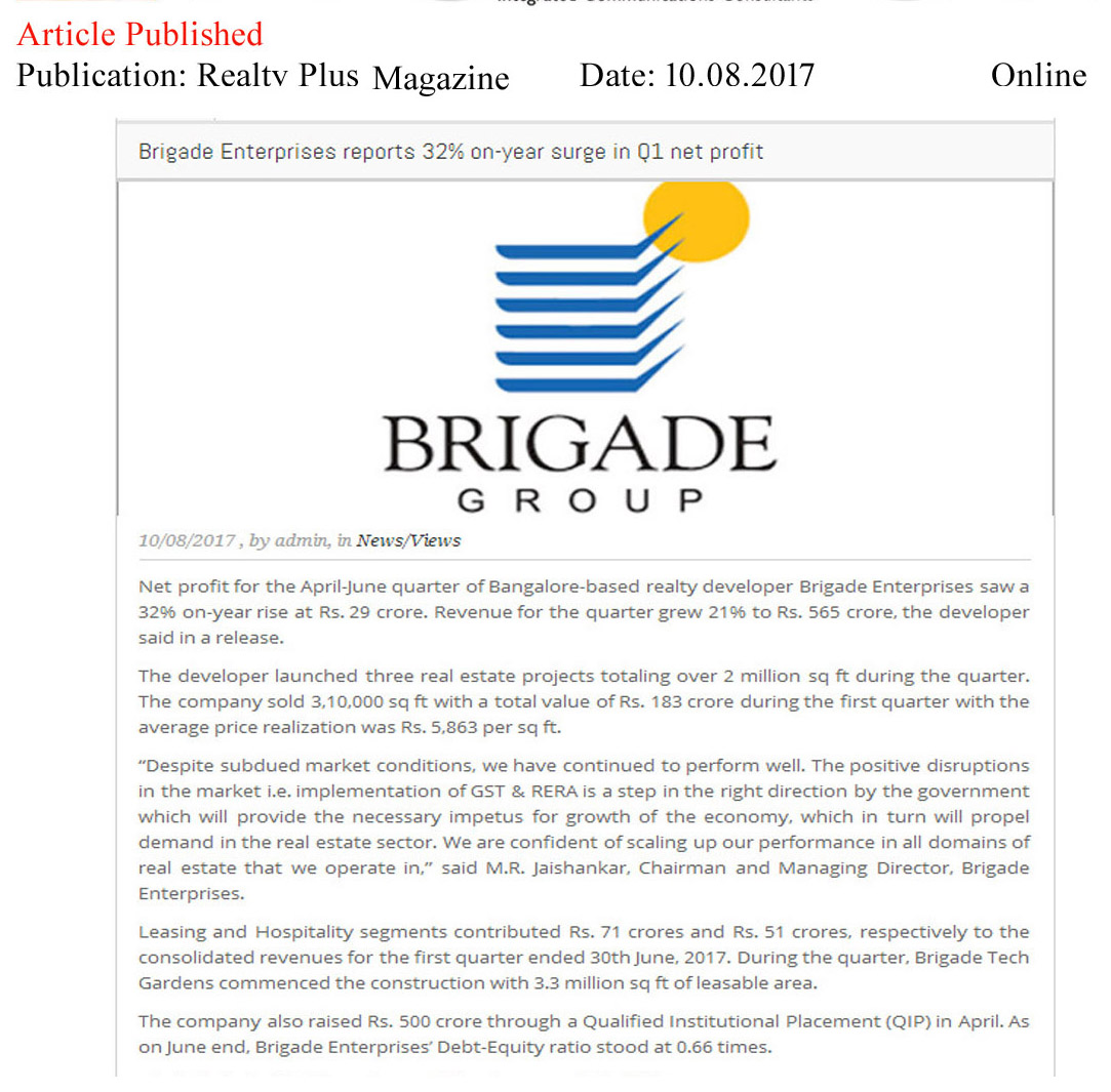 Brigade Enterprises Reports 32% on year surge in Q1 net profit—Realty Plus Magazine-Online