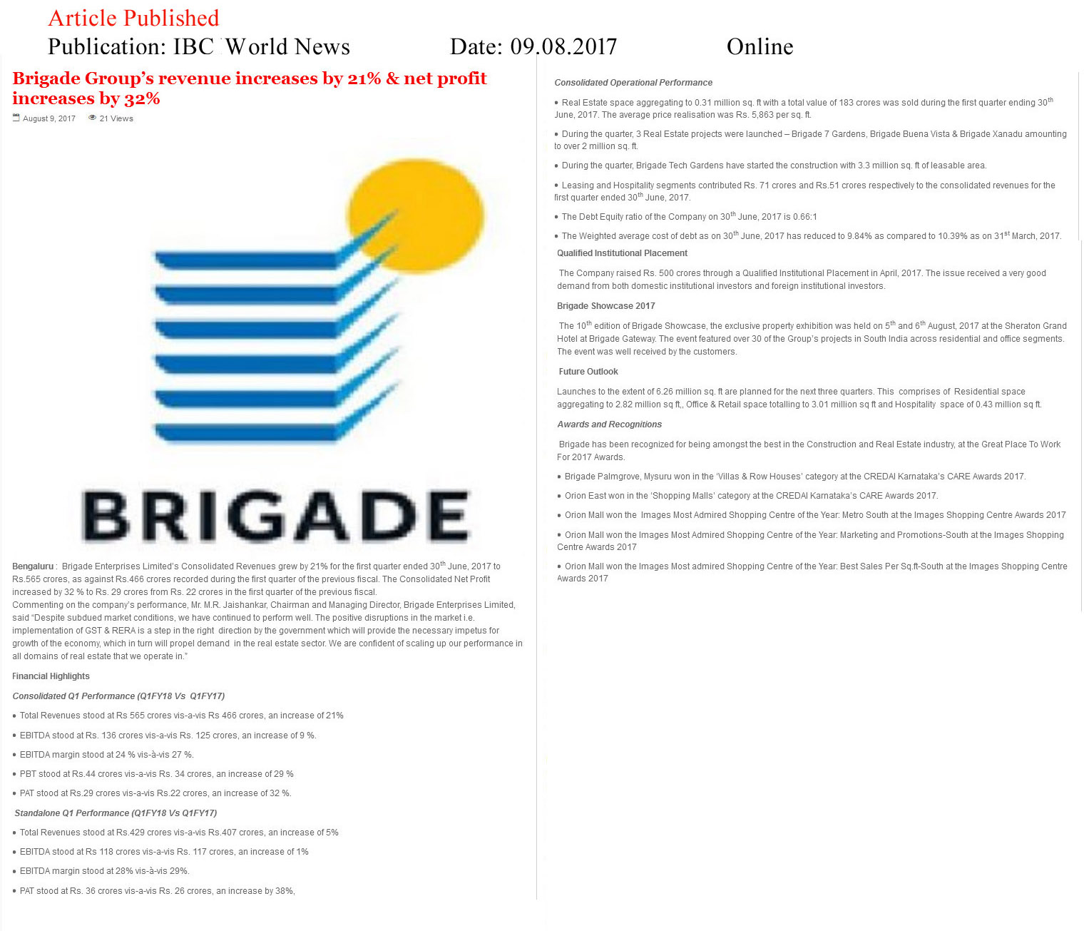 Brigade Group's revenue increases by 21% & net profit increases by 32%—IBC World News-Online