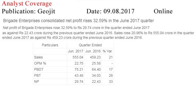 Brigade Enterprises consolidated net profit rises 32.59% in the June 2017 quarter—Geojit-Online