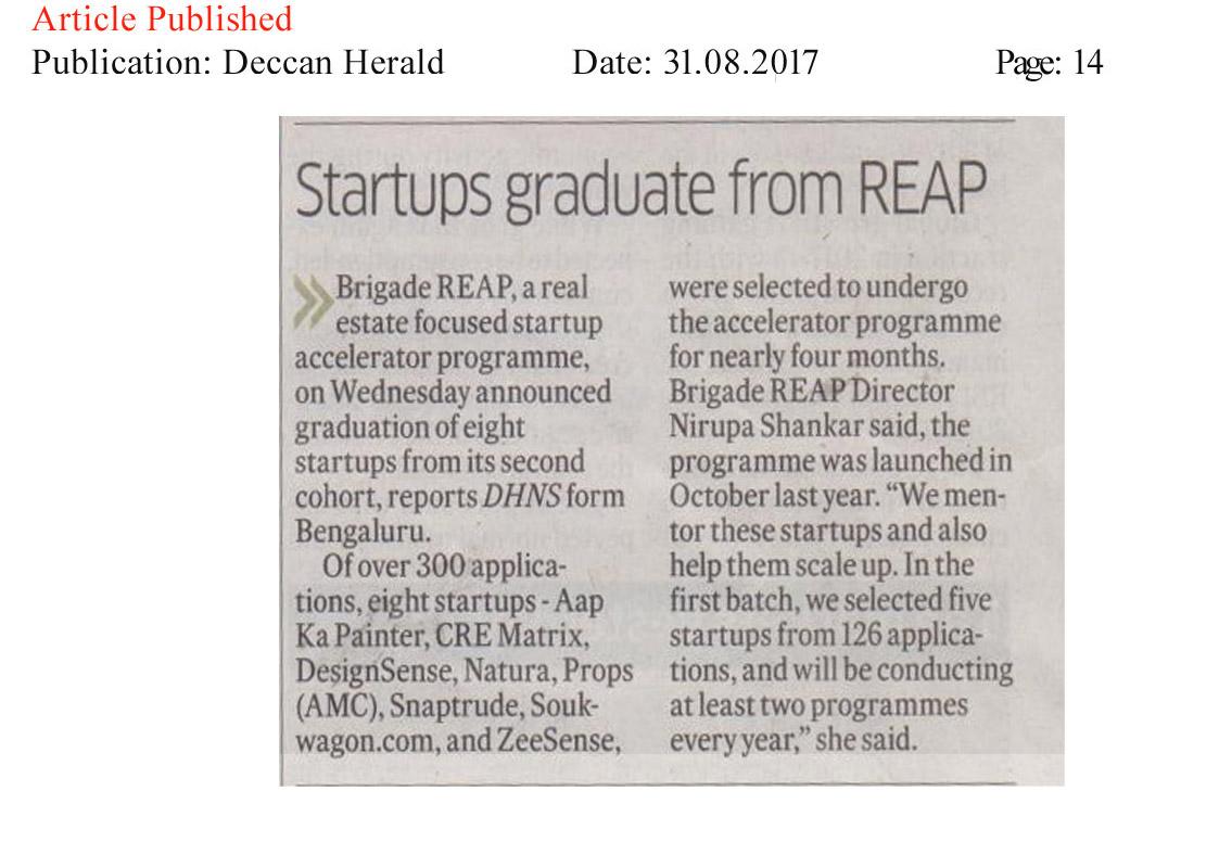 Startups graduate from REAP—Deccan Herald