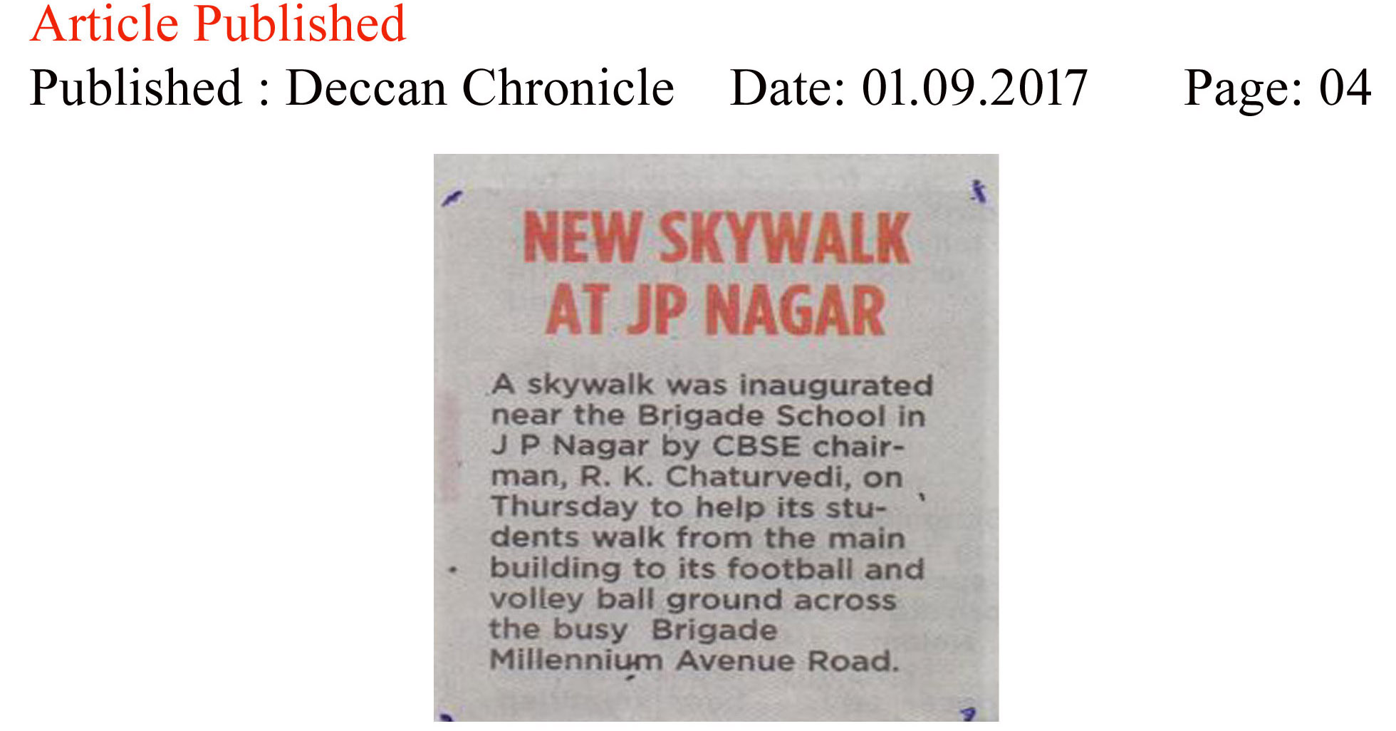 New Skywalk at JP Nagar—Deccan Chronicle