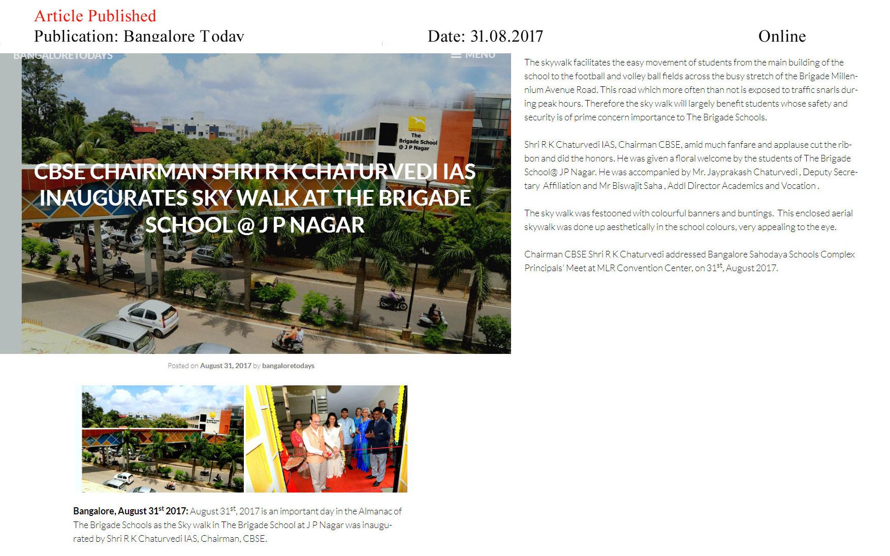 CBSE Chairman Shri R K Chaturvedi IAS inaugurates Sky Walk at The Brigade School @ J P Nagar—Bangalore Todays–Online