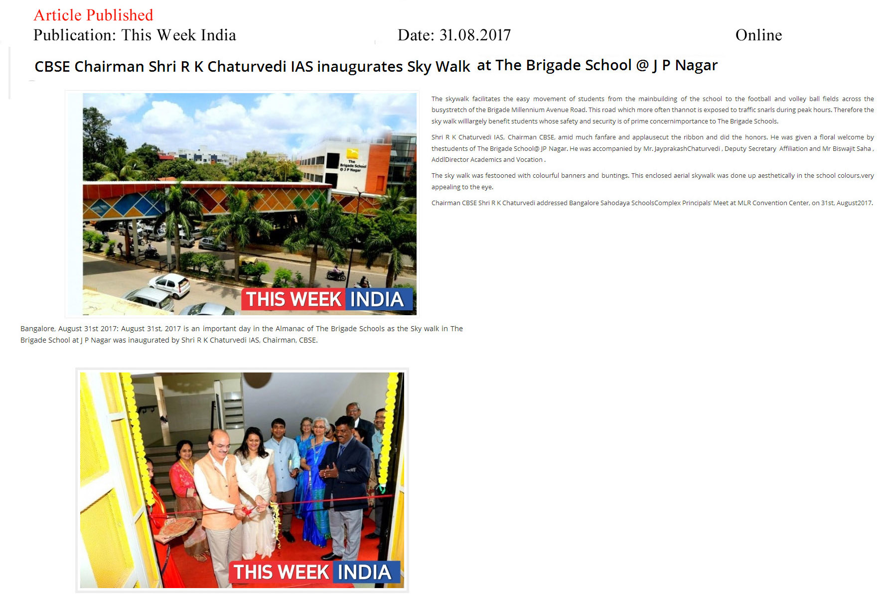 CBSE Chairman Shri R K Chaturvedi IAS inaugurates Sky Walk at The Brigade School @ J P Nagar—This Week India–Online