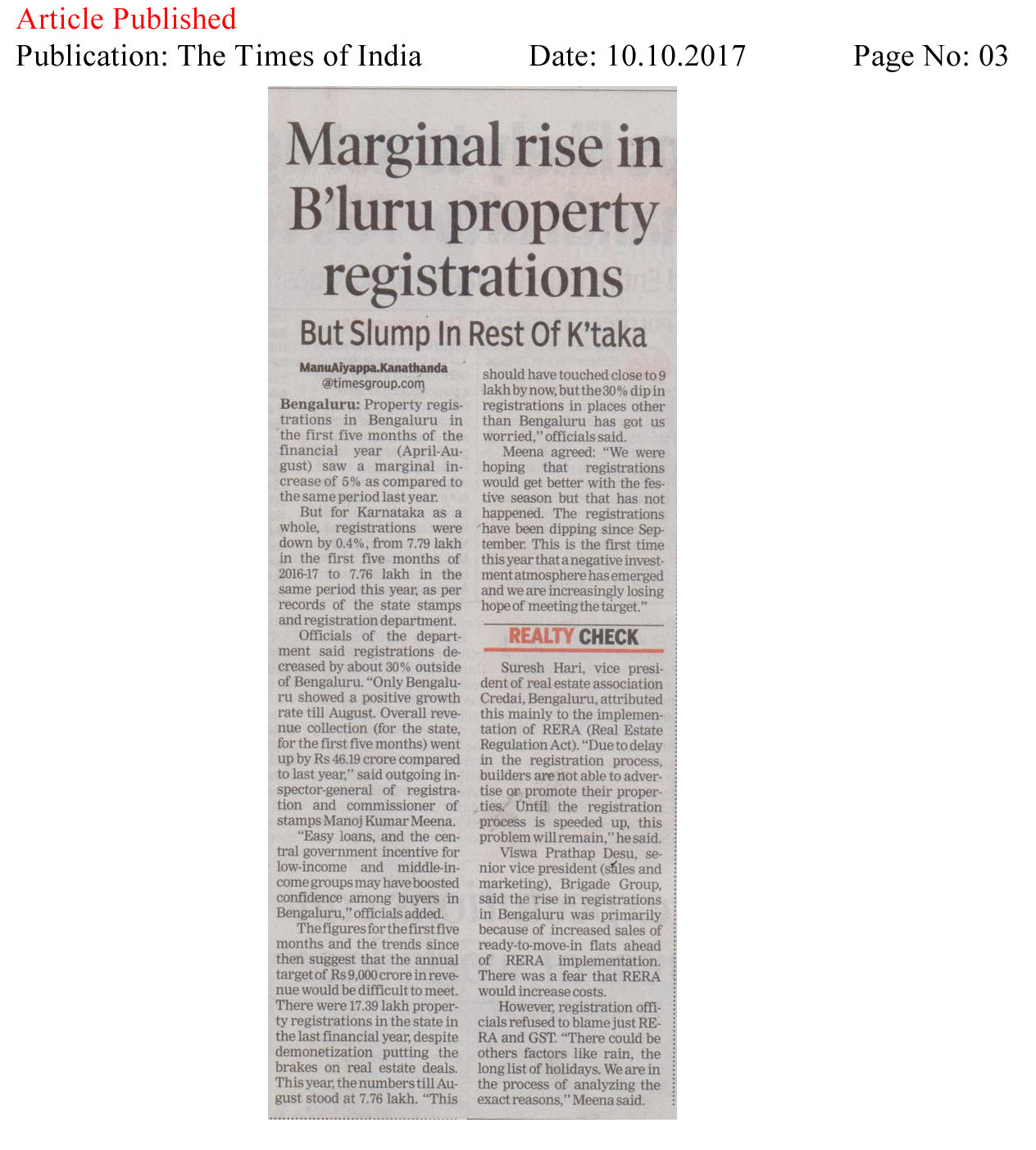 Marginal rise in the B'luru property registrations—The Times of India
