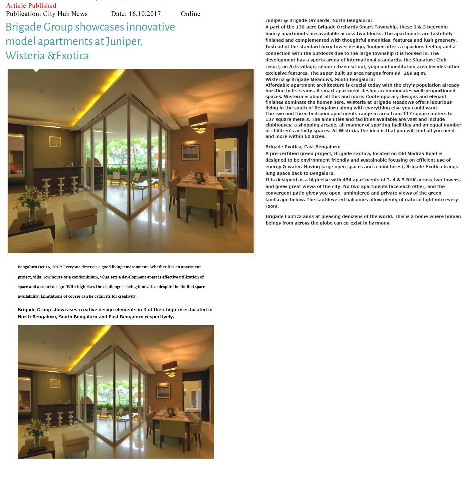 Brigade Group showcased innovative model apartments at Juniper, Wisteria & Exotica—City Hub News-Online