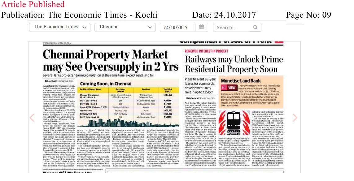 Chennai real estate market may see oversupply in 2 years—The Economic Times–Kochi Edition