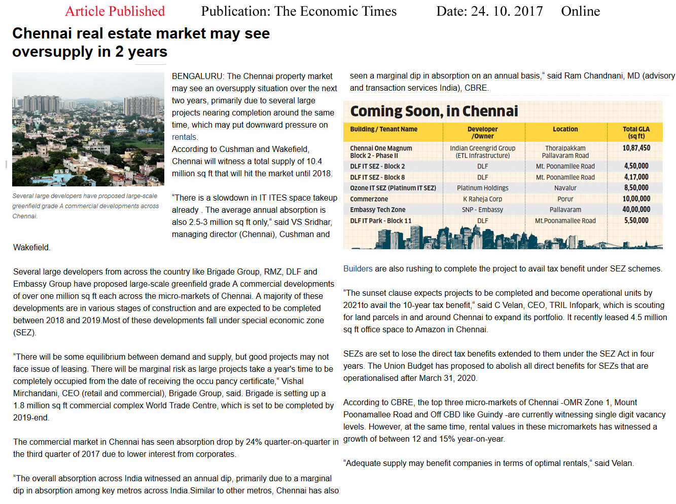 Chennai real estate market may see oversupply in 2 years—The Economic Times–Online