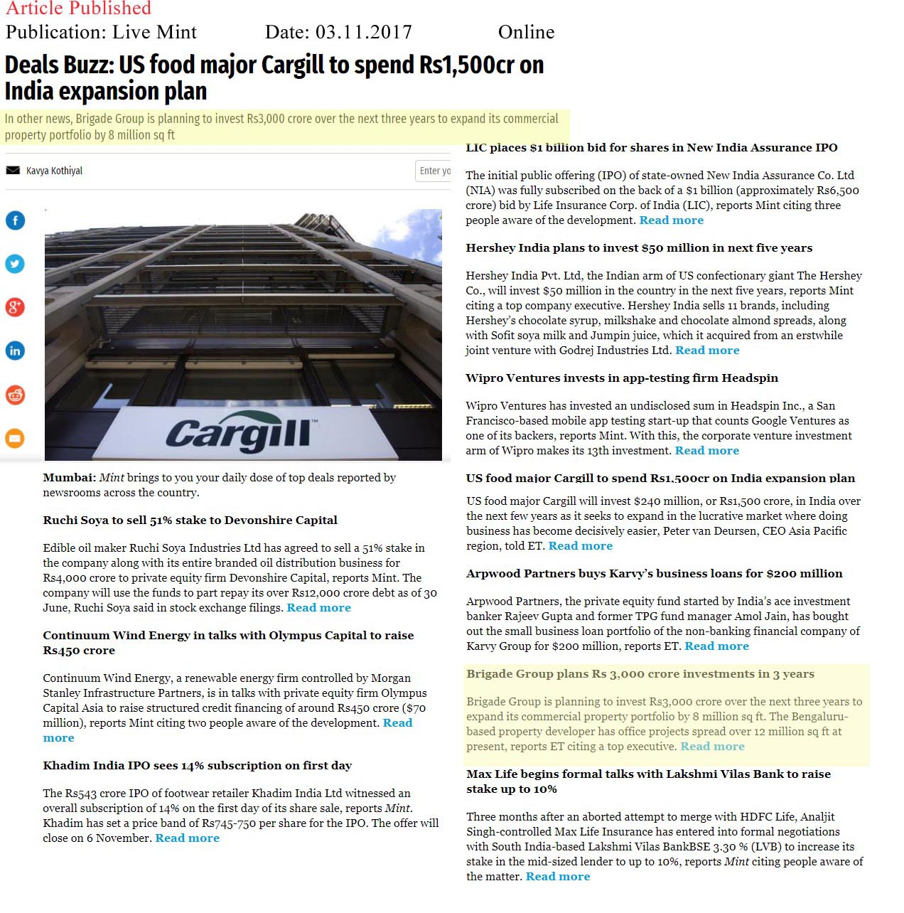Deals Buzz: US food major Cargill to spend Rs.1,500 cr on India expansion plan—Live Mint–Online