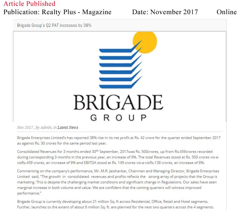 Brigade Group plans to invest Rs 3,000 crore in 3 years—Realty Plus Magazine-Online