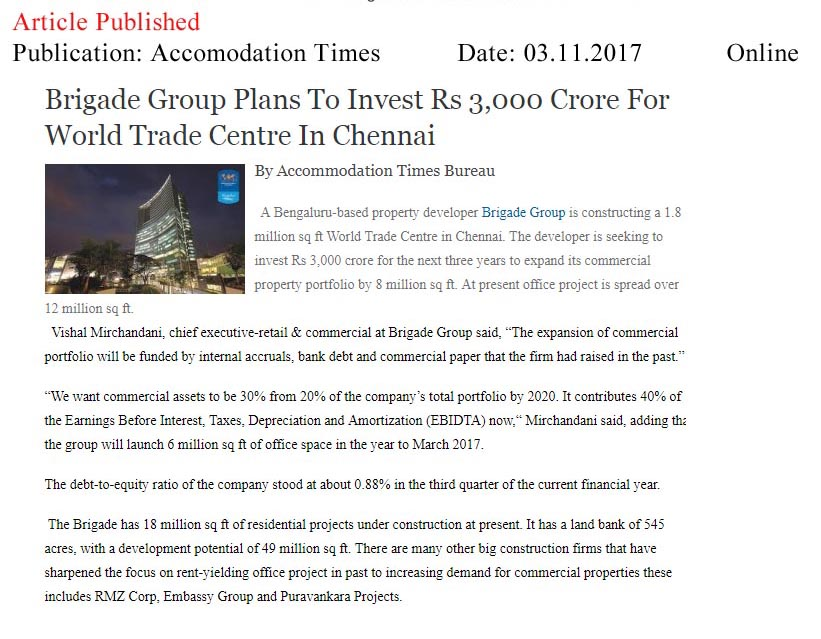 Brigade Group Plans To Invest Rs 3,000 Crore For World Trade Centre In Chennai—Accommodation Times–Online