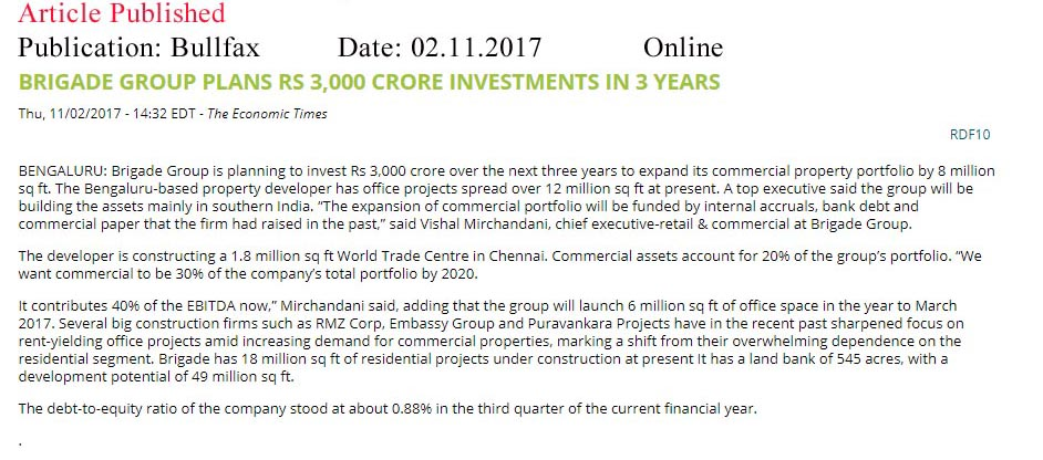 Brigade Group plans Rs 3,000 crore investments in 3 years—Bull Fax–Online