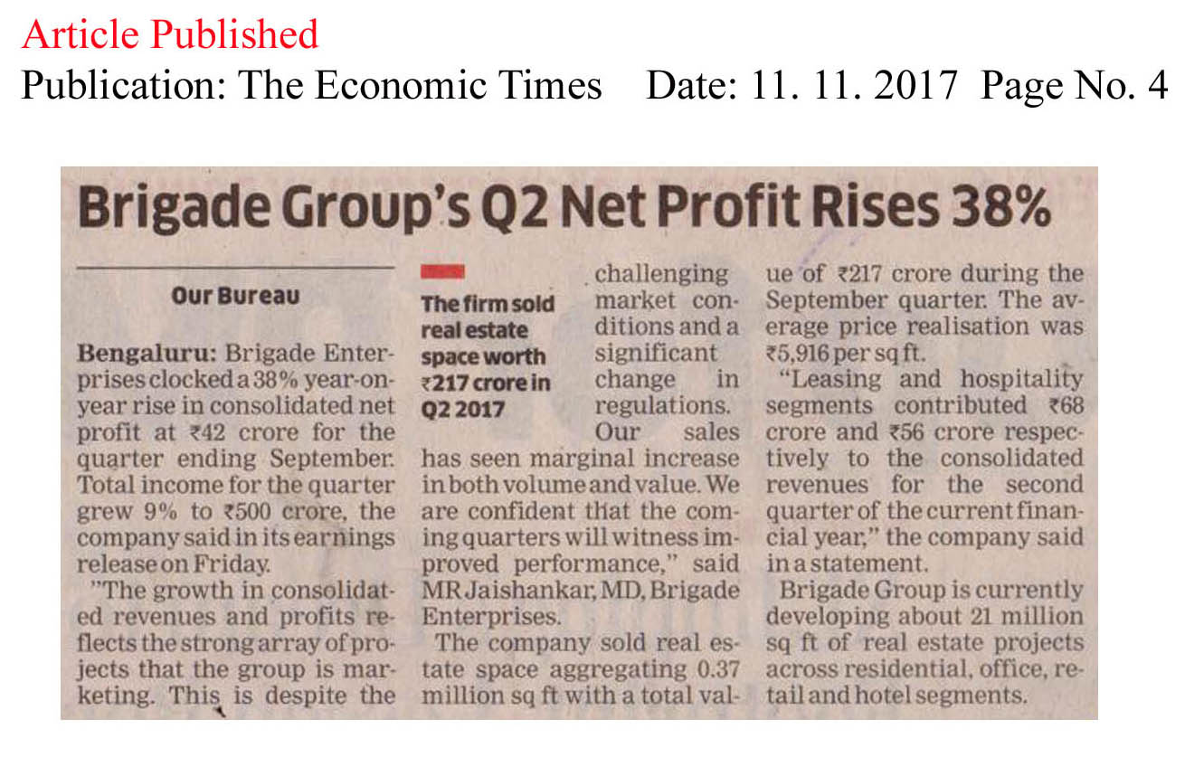 Brigade Group's Q2 net profit rises 38%—The Economic Times