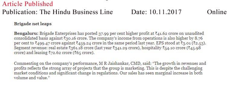 Brigade net leaps—The Hindu Business Line-Online