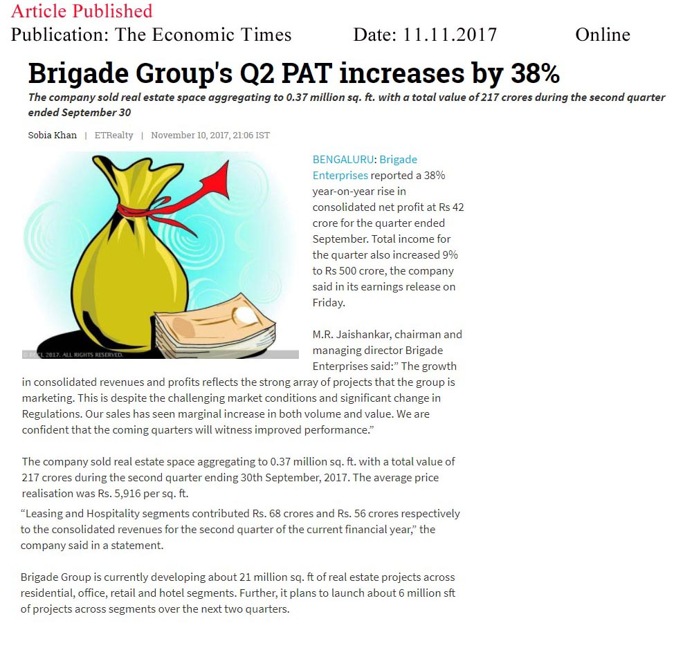 Brigade Group's Q2 PAT increases by 38%—The Economic Times-Online