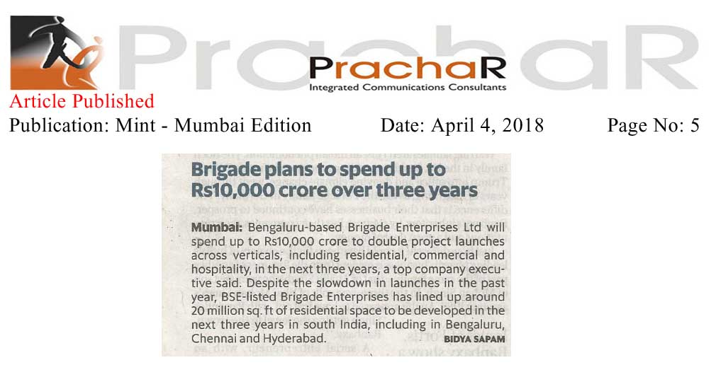 Brigade plans to invest upto Rs. 10,000 crore over three years—Live Mint