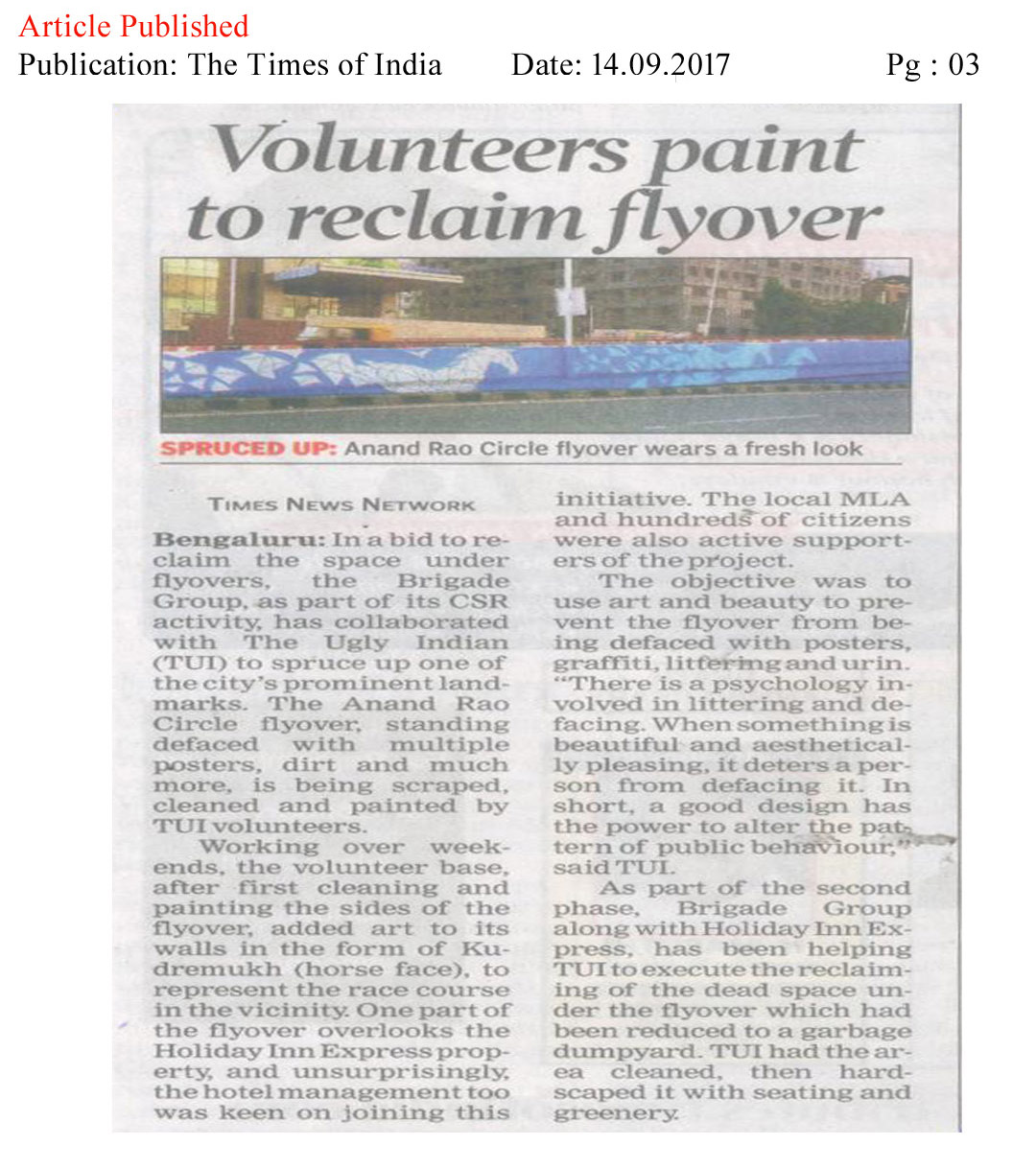 Volunteers Paint to reclaim flyover—The Times of India