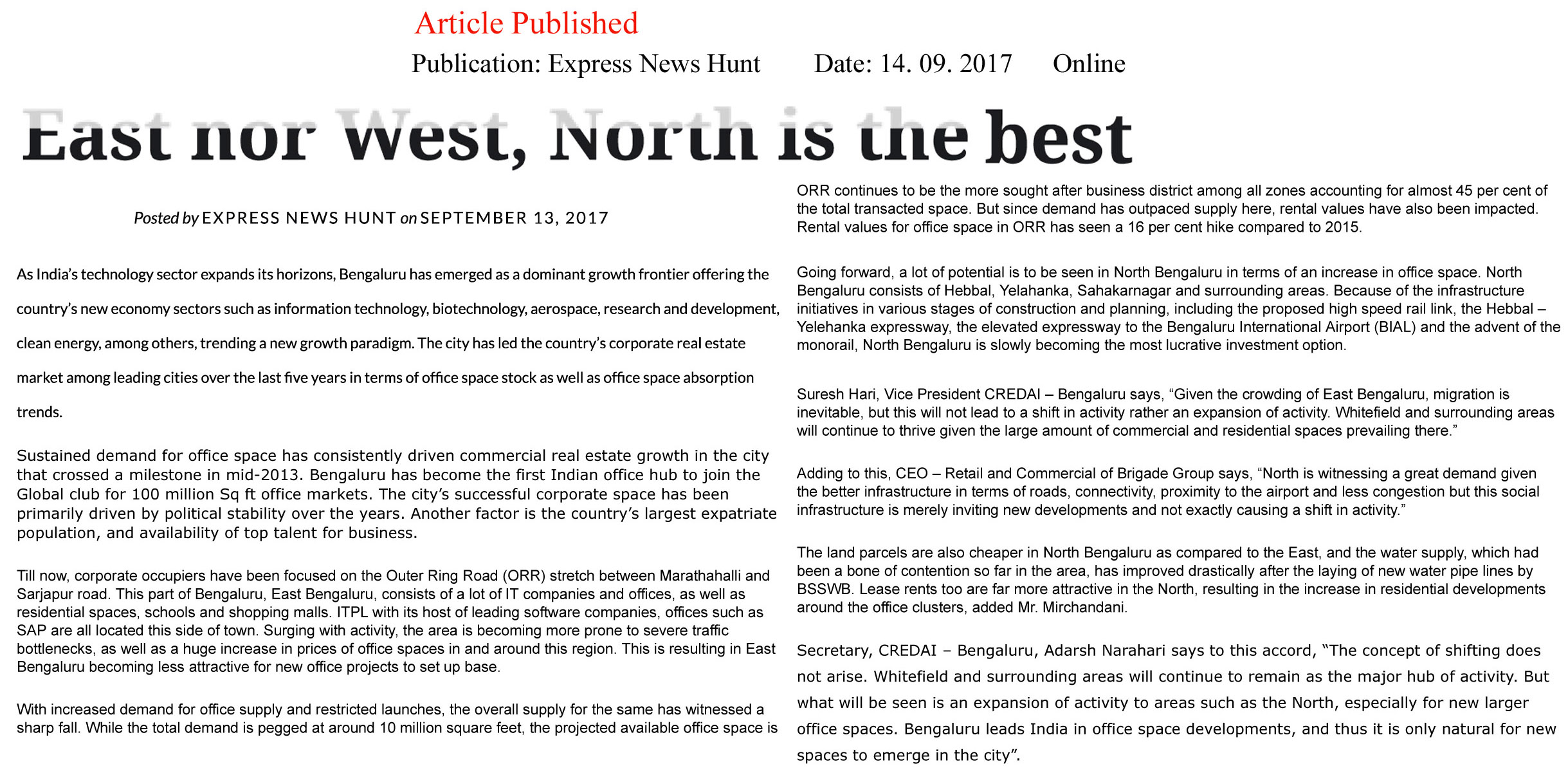 East nor West, North is the best—Express News Hunt–Online