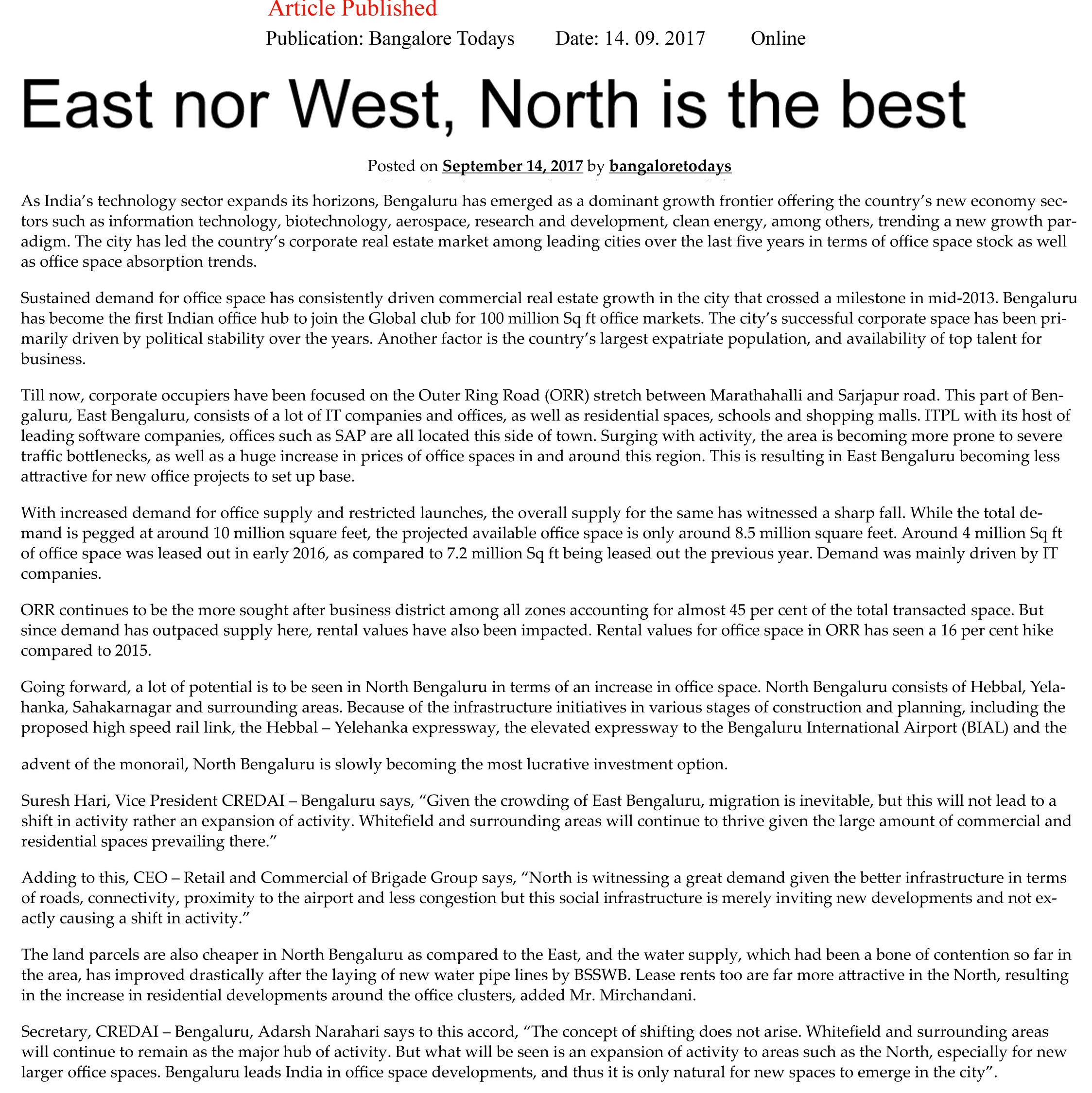 East nor West, North is the best—Bangalore Todays–Online