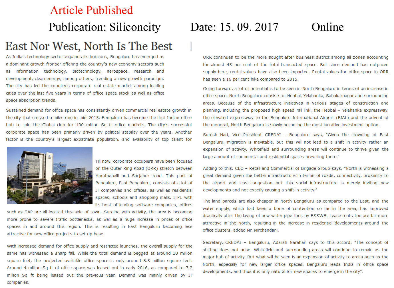 East nor West, North is the best—Silicon City–Online