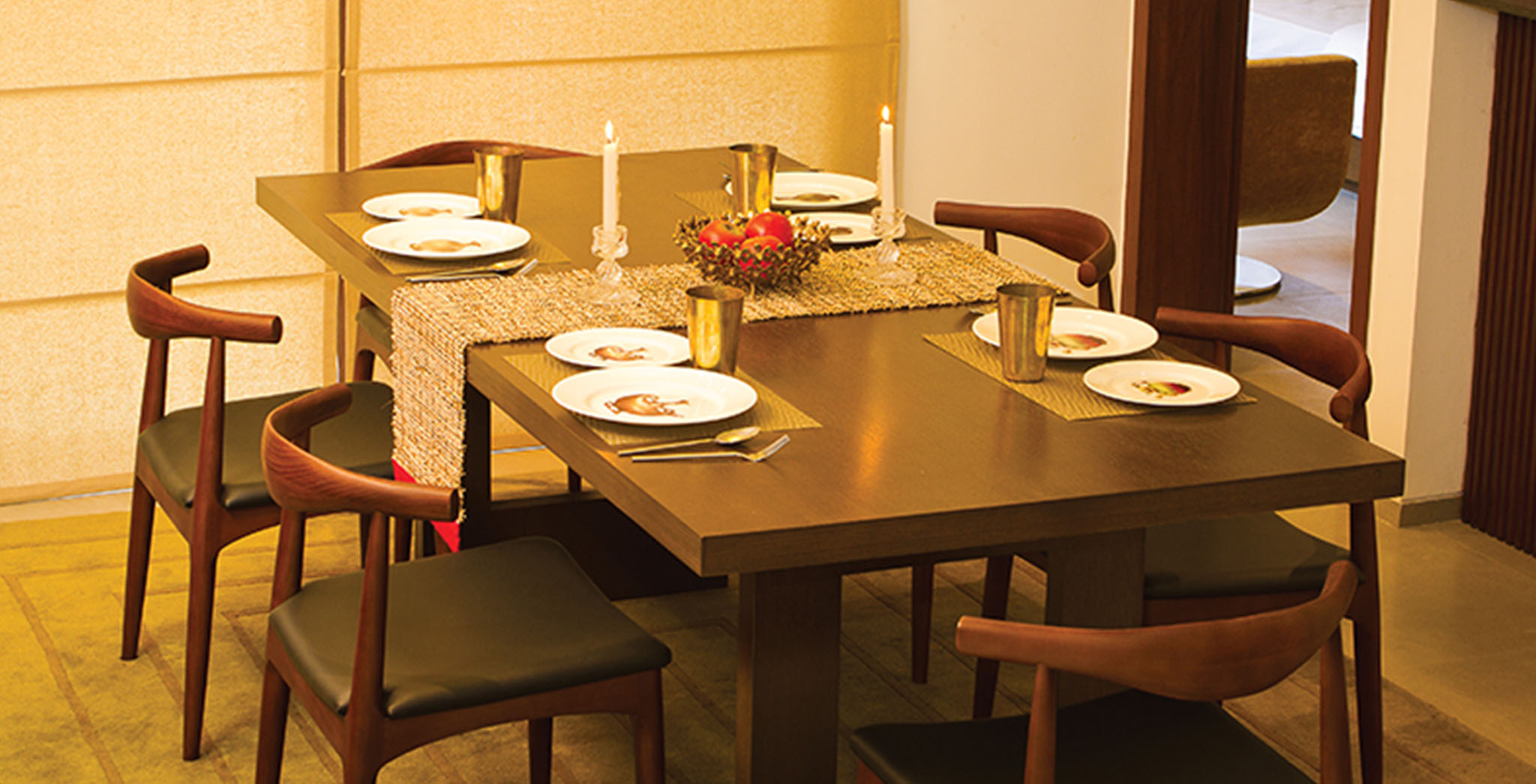 Deodar: Dining at our Model Apartment in Brigade Orchards