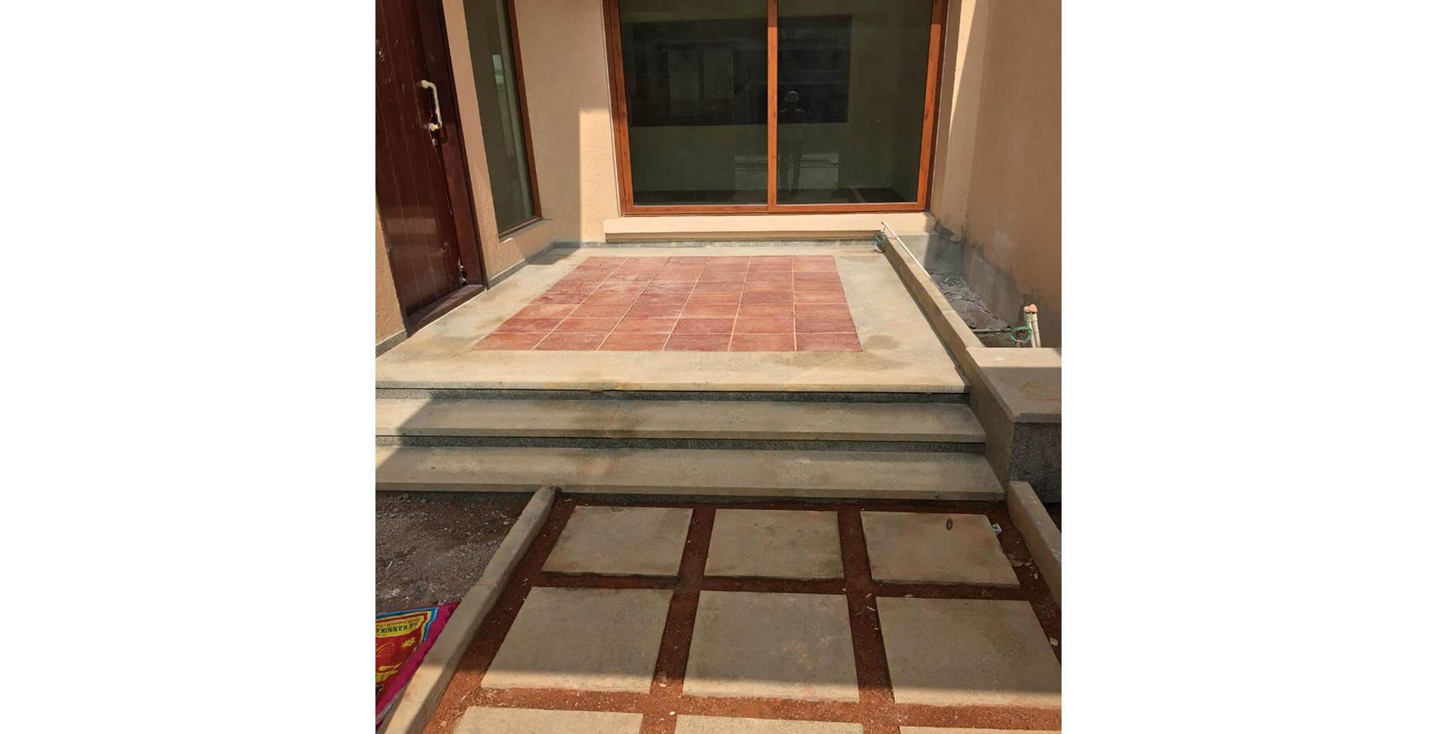 Jan 2019 - Villas Front and Rear courtyard area Finishing work-in-progress