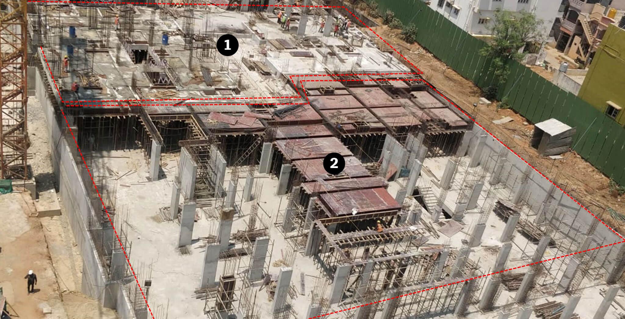 Mar 2019 - Block-E: 1) GF Slab completed. FF columns casting in progress 2) GF Slab shuttering in progress