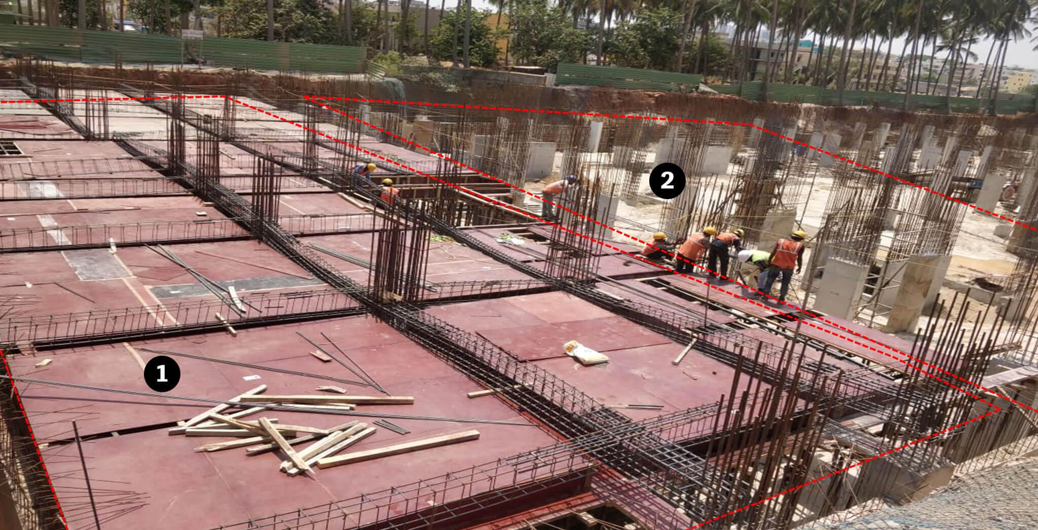 Mar 2019 - Tower A: Upper basement slab and columns work-in-progress