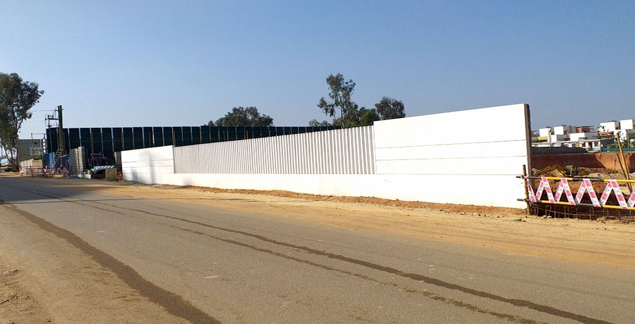 Jun 2019 - Front compound wall: Precast fins placing and white wash completed