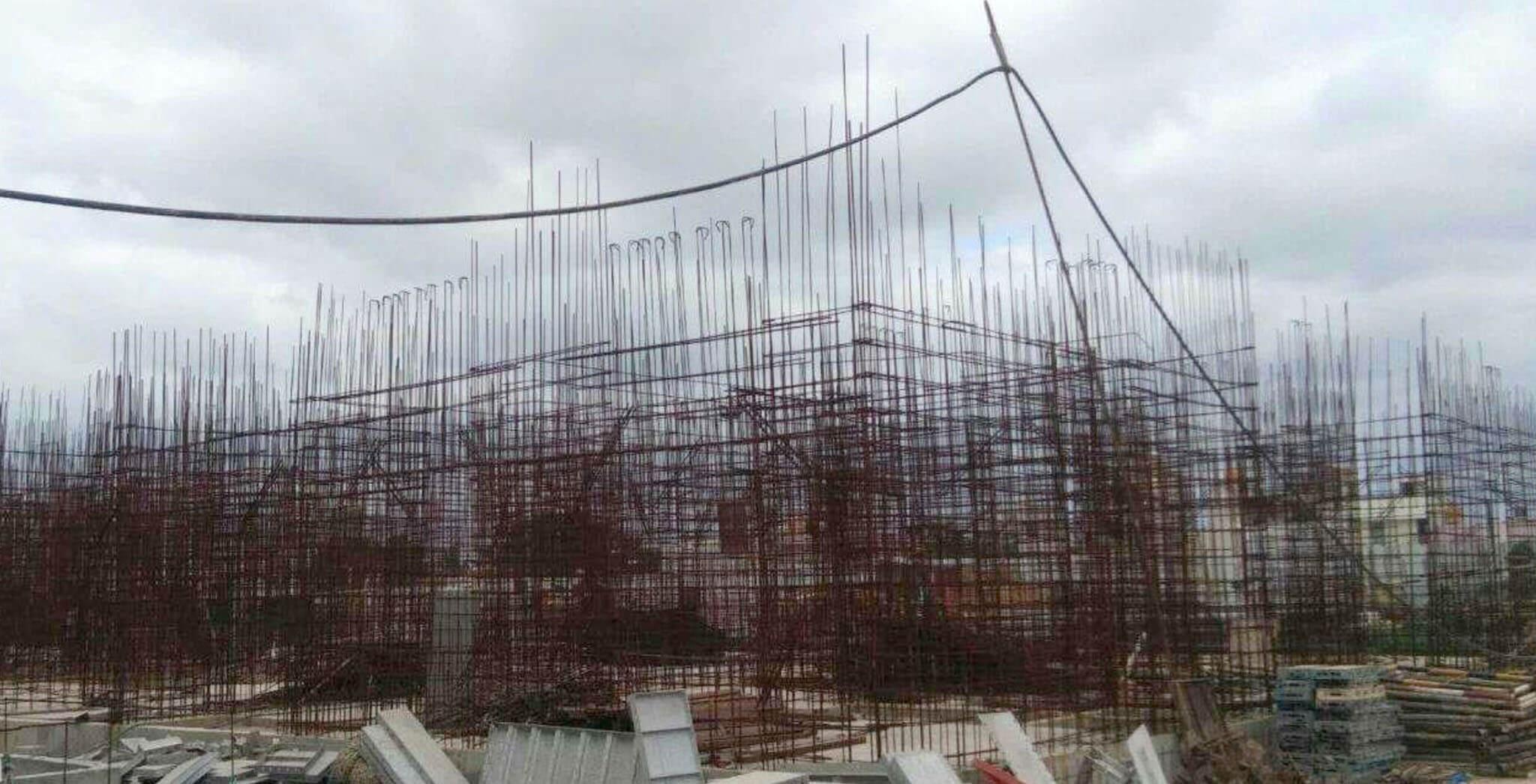 Aug 2019 - M Block: First floor wall reinforcement work-in-progress