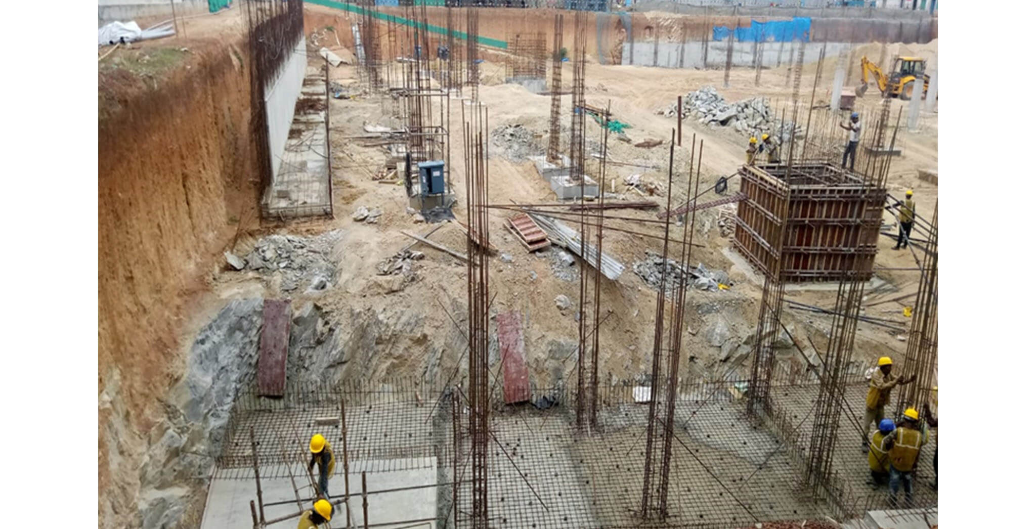 Aug 2019 - North side view: B Block Footings and Lift wall shuttering work-in-progress