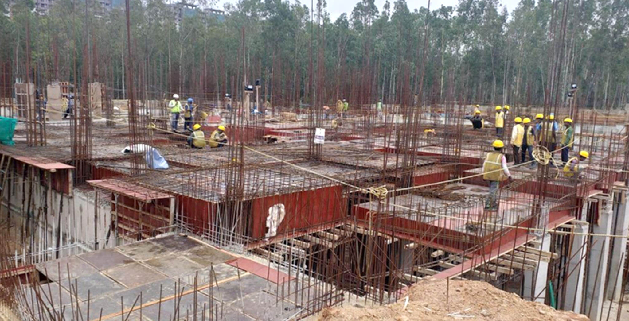 Aug 2019 - West side view: K Block Slab Shuttering and reinforcement work-in-progress • Rain water sump-5 Slab shuttering work-in-progress
