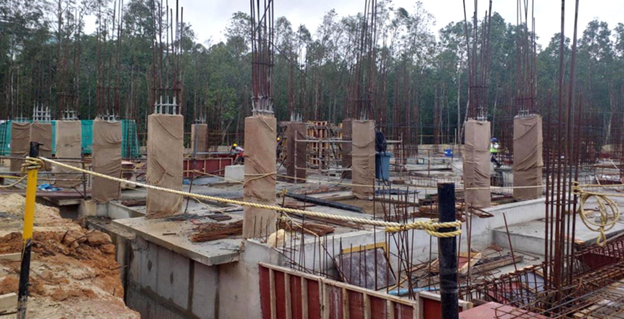 Aug 2019 - West side view: L Block ground floor slab completed • L Block ground floor columns under progress