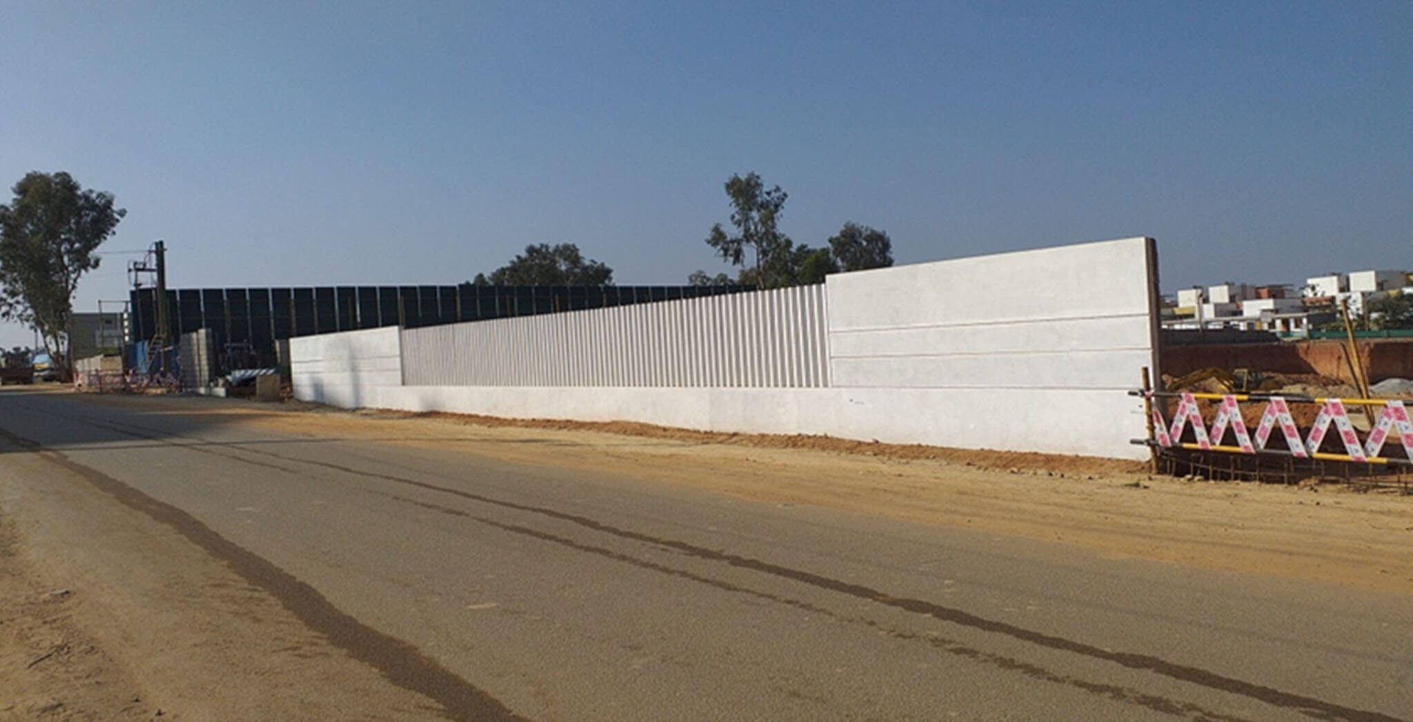 Aug 2019 - Front compound wall: Precast Fins placing and White wash completed
