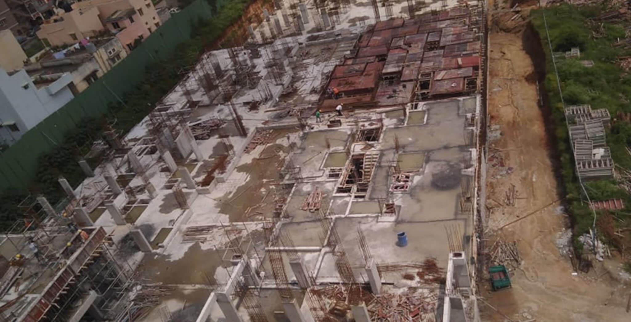 Oct 2019 - Wings H, Q, R: Ground floor slab concreting done; G under progress