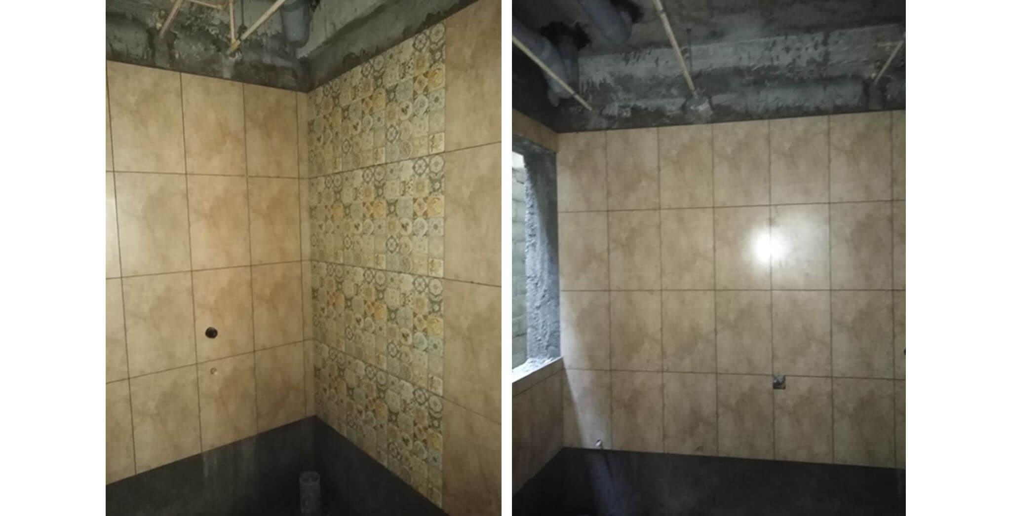 Oct 2019 - Wing K: Mock up unit Toilet dado tiles work-in-progress