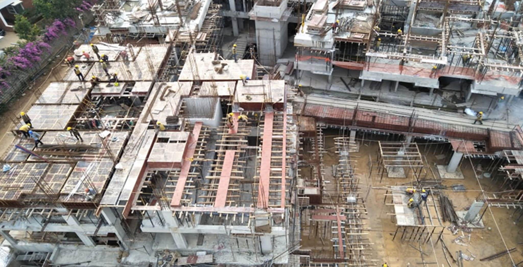 Oct 2019 - K, L & M Blocks: First floor slab completed; L Block: Second floor slab completed; K and M Blocks: Second floor work-in-progress