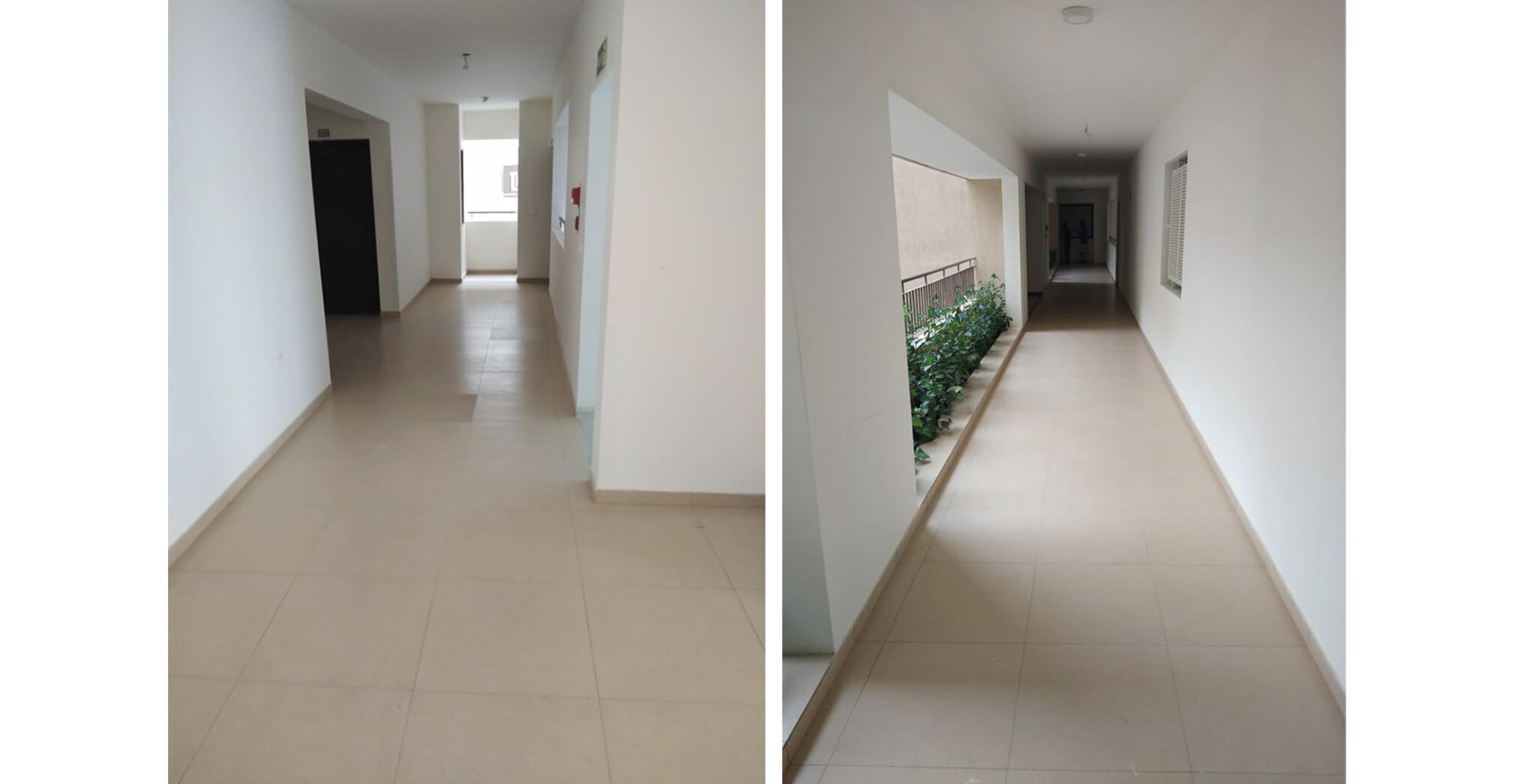 A block: Corridor–Final coat, painting completed