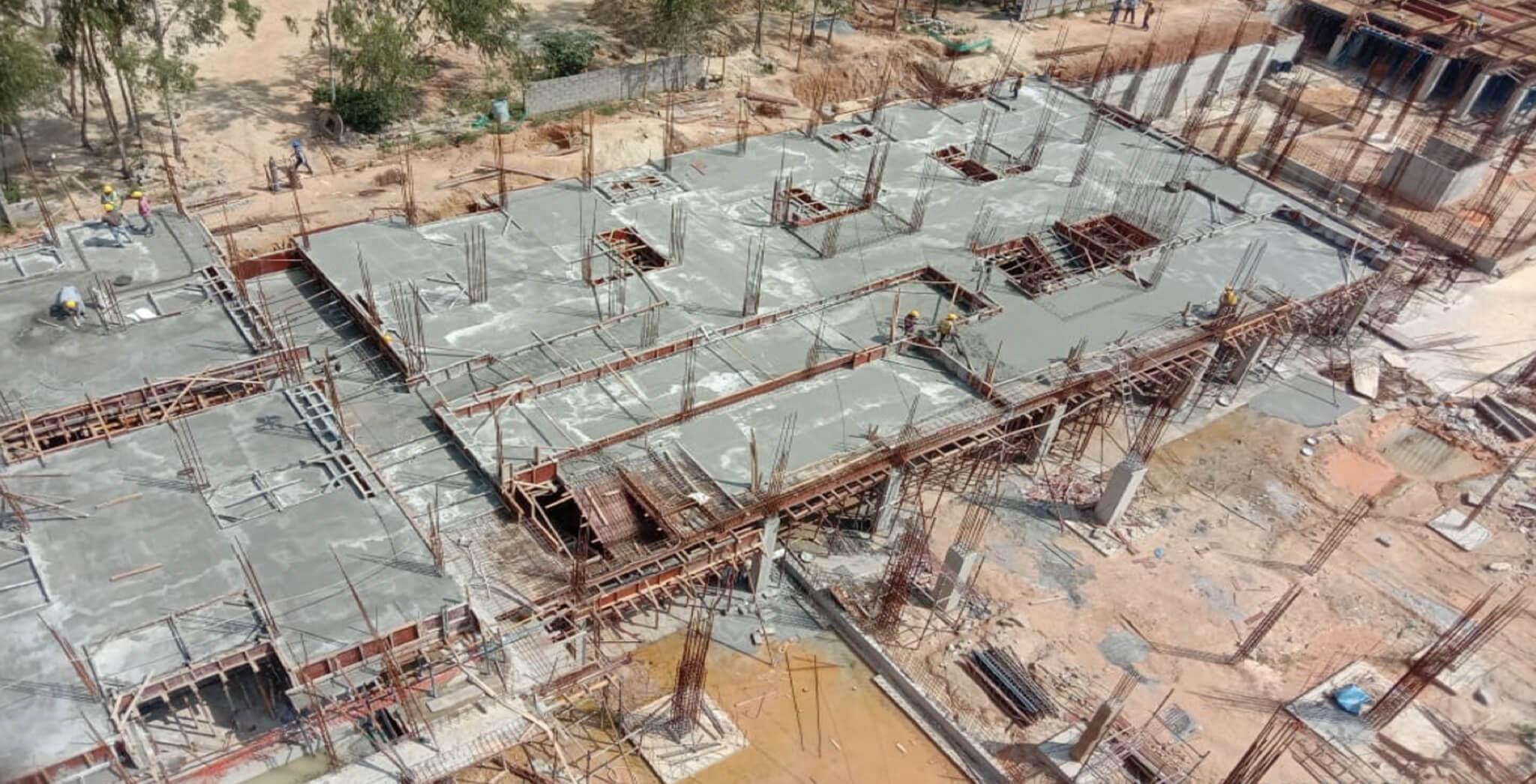 Nov 2019 - North side view: Q Block—Ground floor slab completed