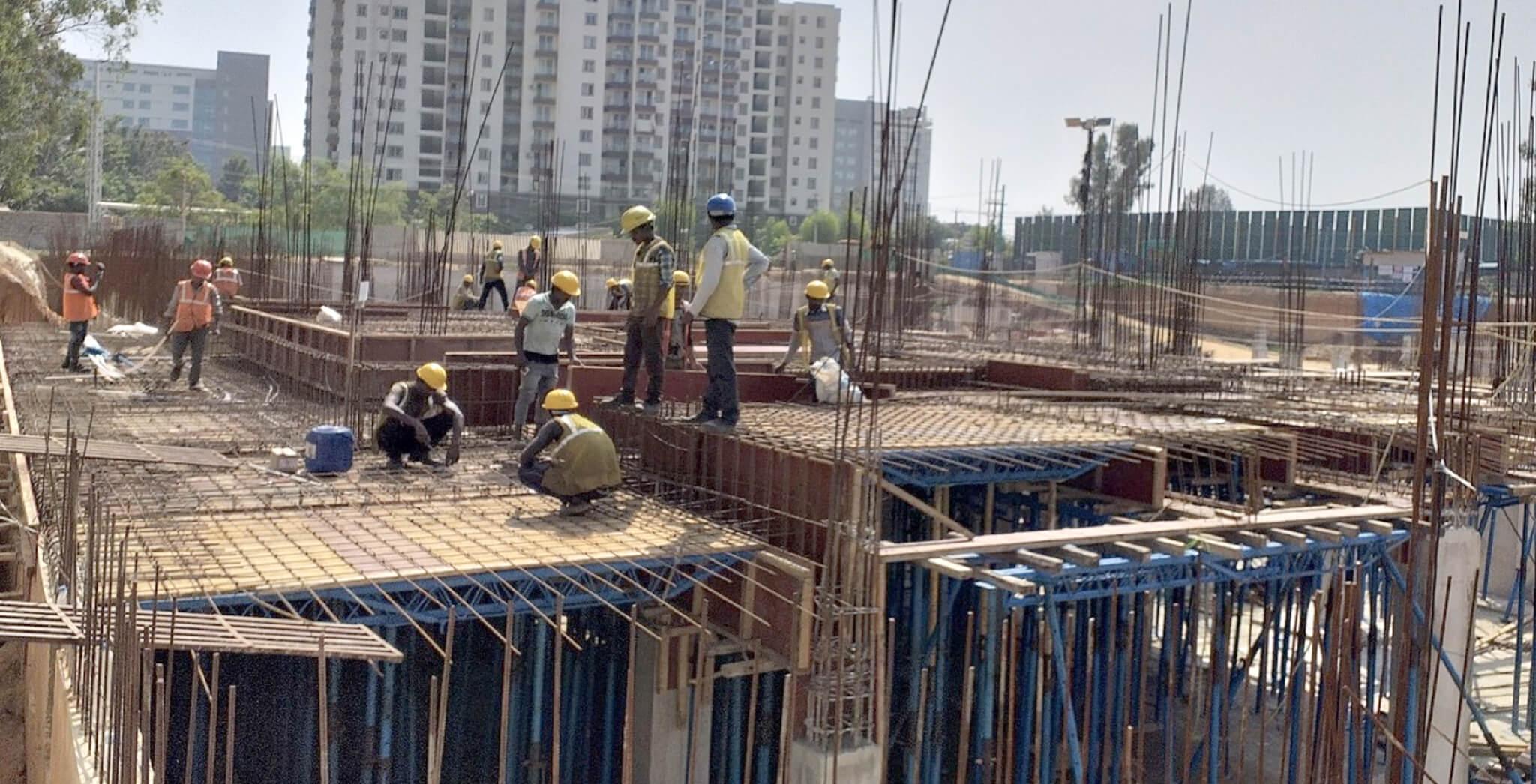 Nov 2019 - North side view: S Block—Ground floor slab reinforcement work-in-progress