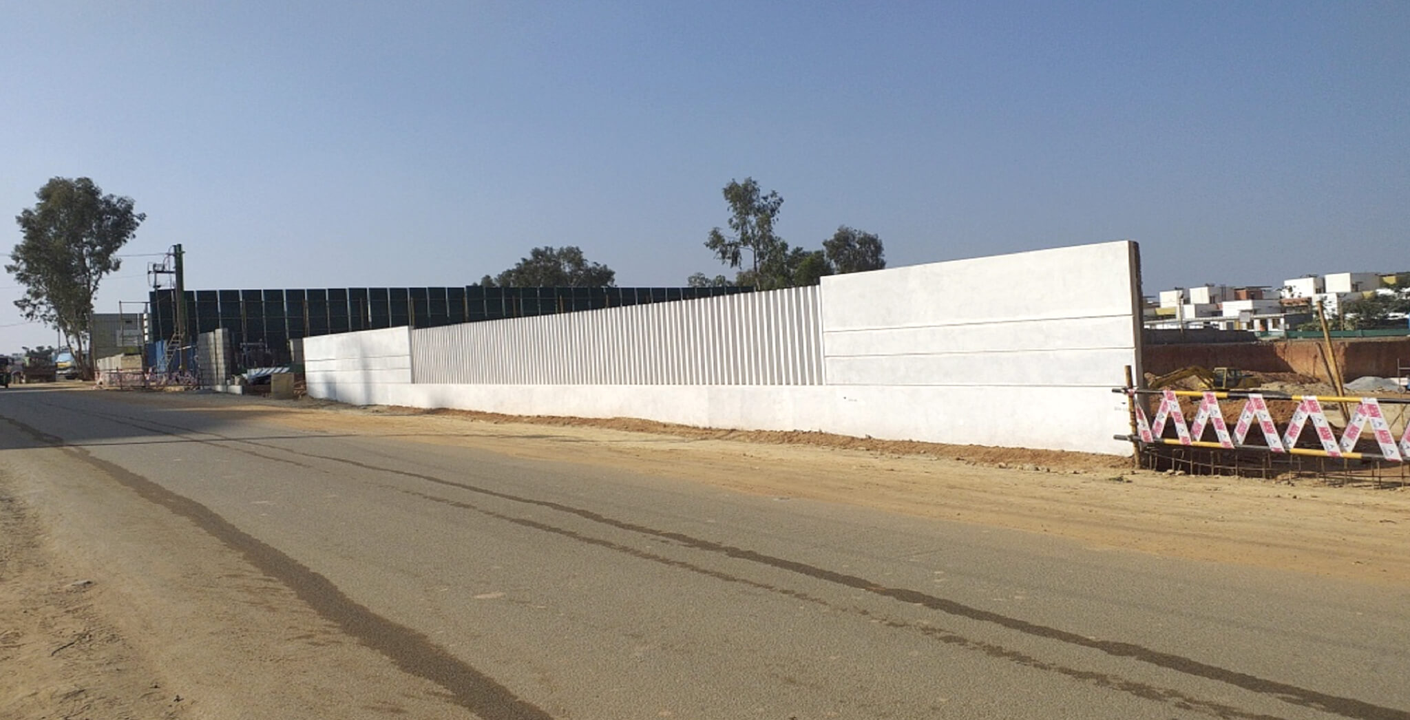 Nov 2019 - Front compound wall: Precast fins placing and white wash completed