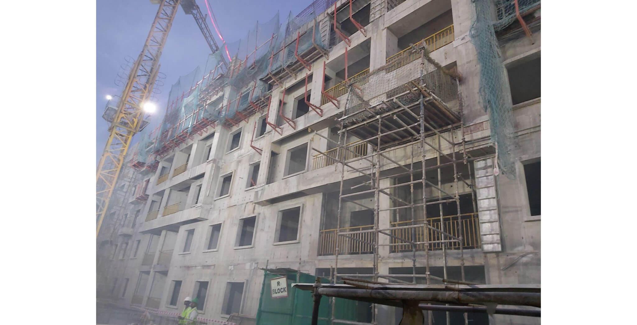 Jan 2020 - R Block: Above terrace work-in-progress