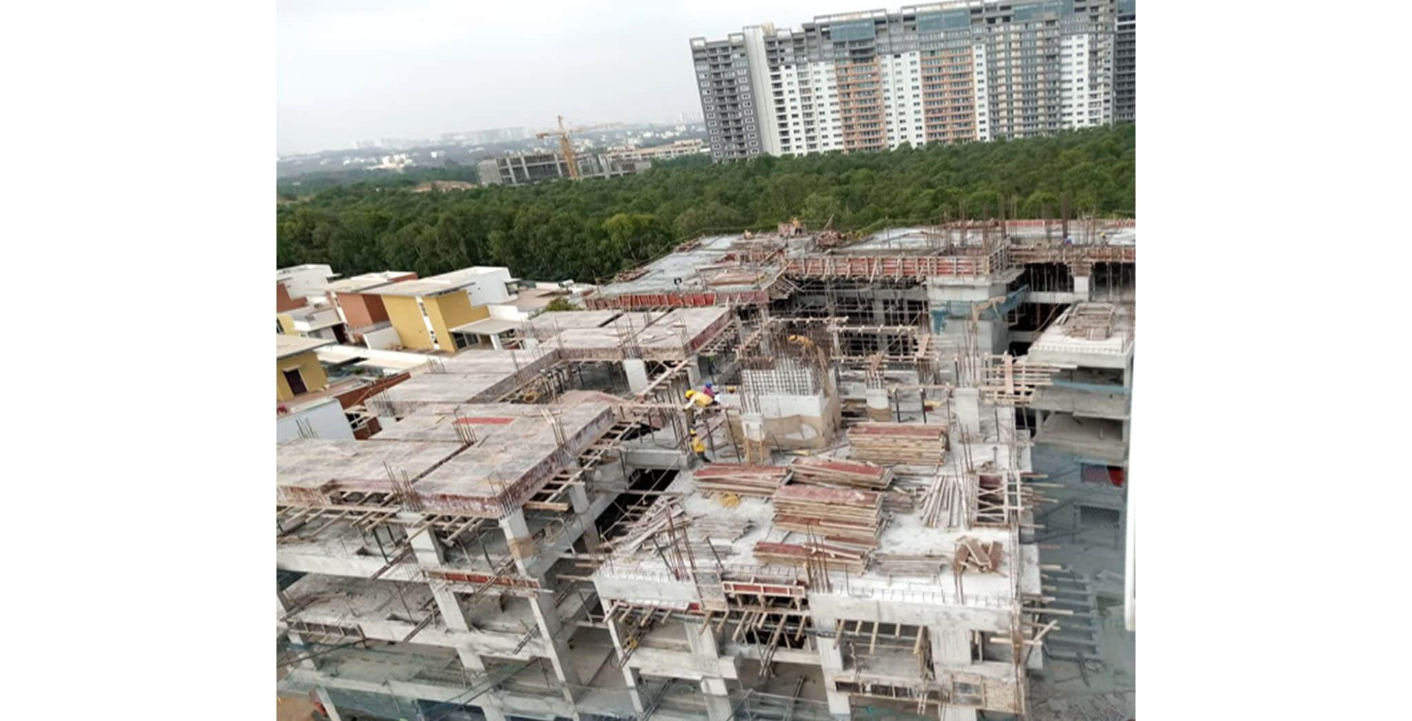 Jan 2020 - K Block: Terrace floor slab shuttering work-in-progress