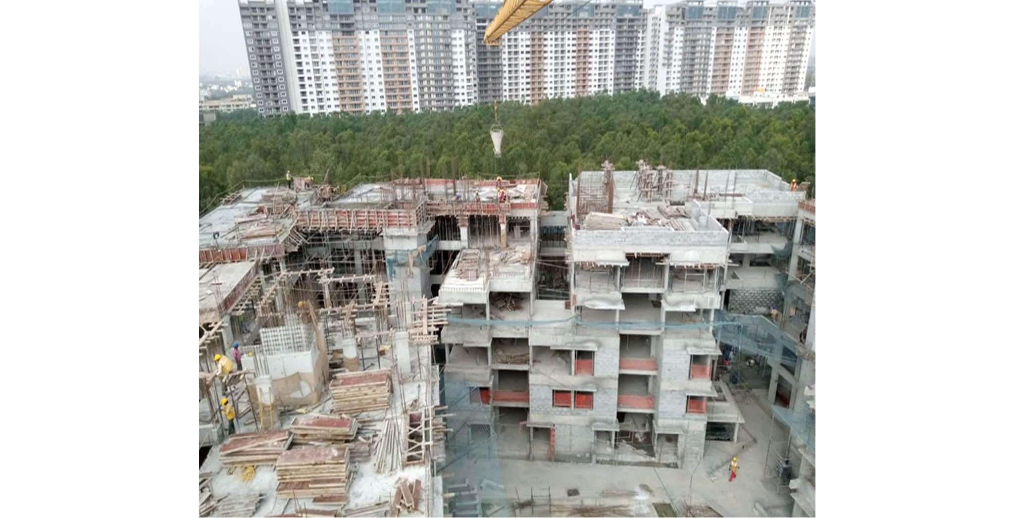 Jan 2020 - L & M Blocks: Terrace floor slab completed, above terrace work-in-progress