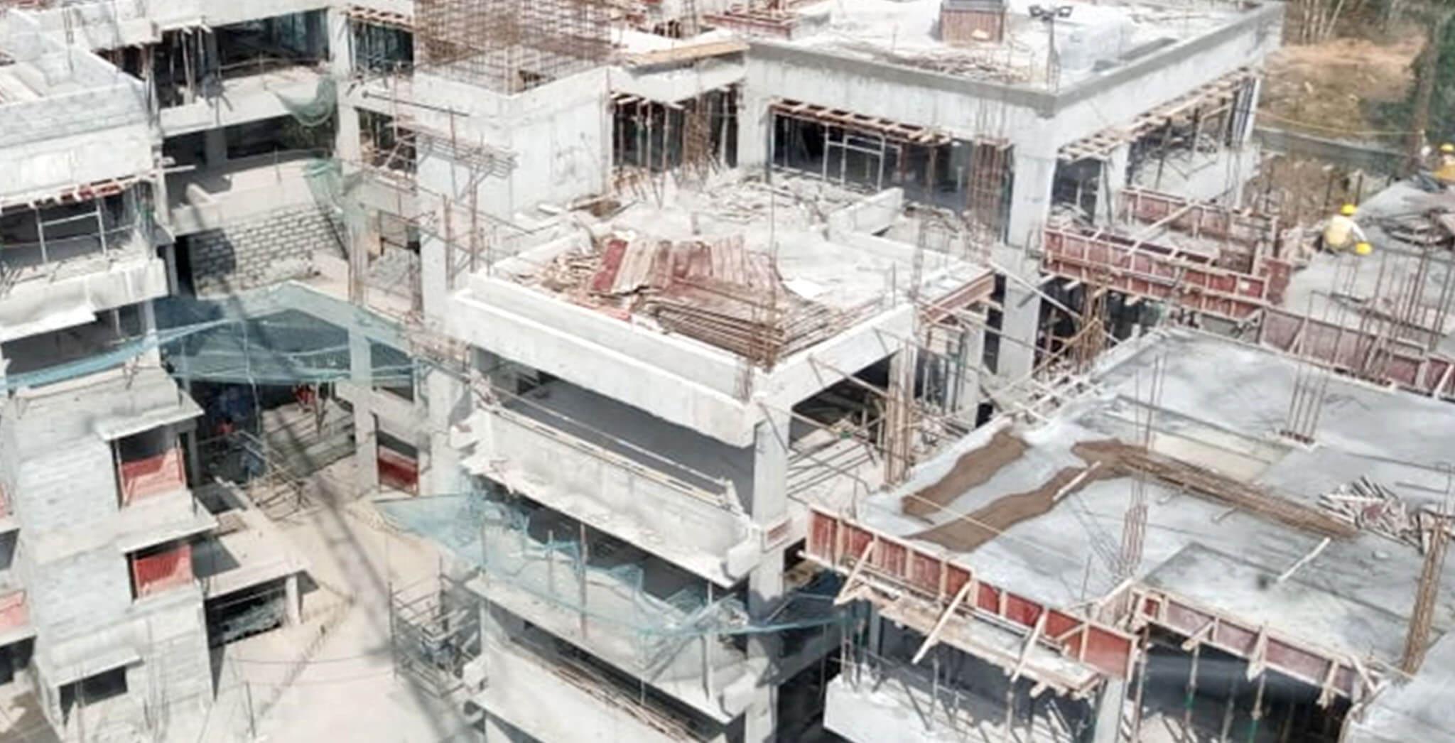 Jan 2020 - N Block: Terrace floor slab completed, above terrace work-in-progress